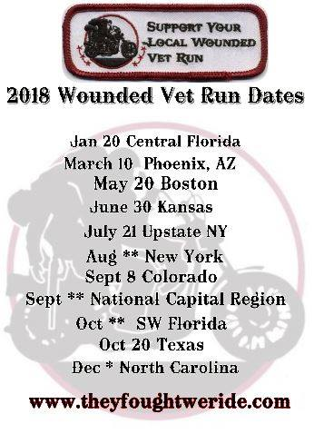 schedule of Wounded Vet runs across the country